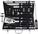 grilljoy 24PCS Heavy Duty BBQ Grill Tools Set with Thermometer and Meat Injector. Extra Thick...