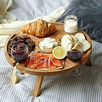 unknows Support en bois pour verres à vin, table de pique-nique pliable en bois pour le fromage, le goûter