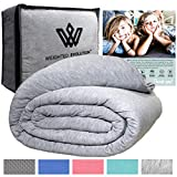 Weighted Evolution Weighted Blanket+Bonus Organic Bamboo Duvet Cover/PRE-Assembled/Best Blanket for Adults/Kids-Hypoallergenic Warm Cooling Calm Cozy Heavy Blanket (Grey, 60'x 80'|15 lbs)