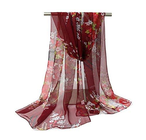 joyfeel comprar 1pieza las mujeres pañuelo de seda elegante impreso floral patrón suave transpirable ligero protector solar playa dama chal, hilo, Rojo, 160x50 cm
