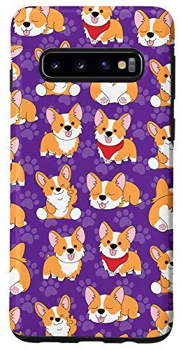 Galaxy S10 Corgi Phone Case Gifts Pattern Baby Dog Paw Purple Cute Case
