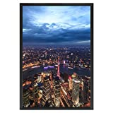 ONE WALL 27x40 Inch Poster Frame, Black Metal Aluminum Movie Poster Frame for Photo Picture Poster Artwork Wall Hanging - Wall Mounting Hardware Included