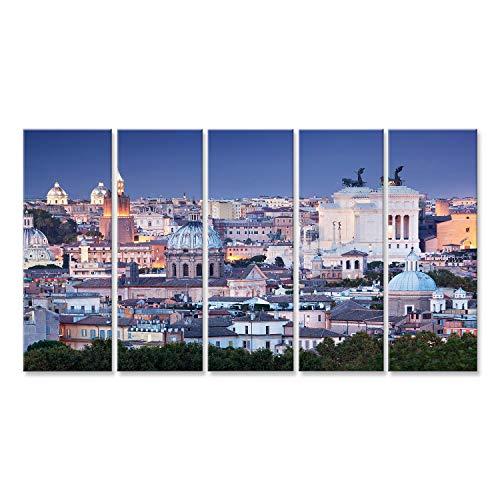 islandburner Bild Bilder auf Leinwand Rom Skyline in der Nacht, Italien. Von der Piazza Giuseppe Garibaldi gesehen Wandbild Leinwandbild Poster DOW