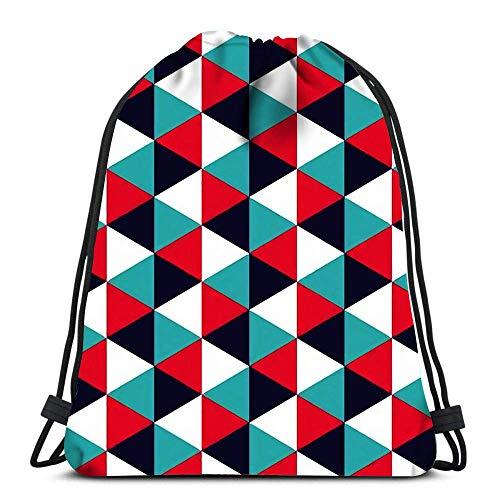 Lmtt Mochilas con cordón Mochila Moderna Geometría Colorida Triángulo Color Almohada geométrica Abstracta Mochilas de Viaje Tote Mochila Escolar