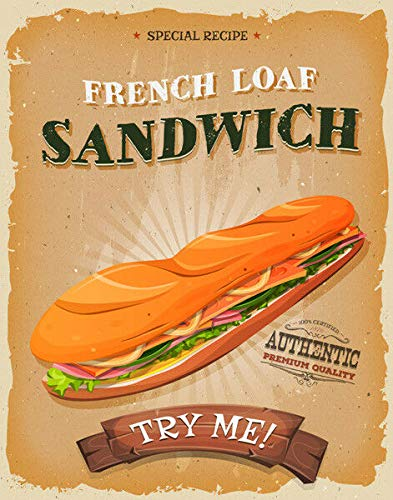 bar sandwiches nobrand Sandwiches American Diner Vintage Metal Sign, Retro Plaque, Cafe Bar, Fast Food 8x12 inch