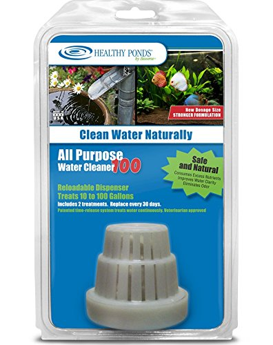 Healthy Ponds All Purpose Water Cleaner 100 - Reloadable Dispenser with 2 30-Day Refills; Treats up to 100 Gallons for 60 Days