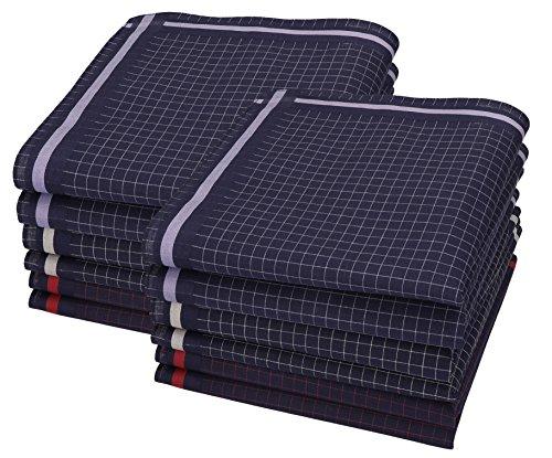 Betz 12 Stück Herren Stoff Taschentücher Set Leo 7 100% Baumwolle Größe 40x40 cm Dessin 1
