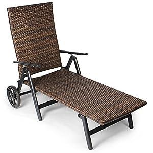 Vanage Sonnenliege mit Polyrattan Optik in schwarz - Gartenliege mit 2 Rädern - Liegestuhl ist klappbar - Gartenmöbel…