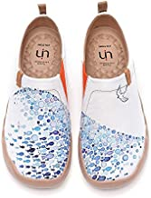 UIN Women's Flats Canvas Lightweight Sneakers Slip Ons Walking Casual Art Painted Travel Holiday Shoes Pacific Time (37)
