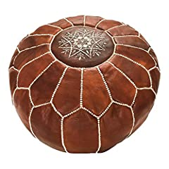 "Marrakesh Gallery Ottomans: Made of 100% authentic Goatskin leather - handcrafted Moroccan Pouf made out of Genuine soft leather and has an exquisite embroidery on the Top. 20"" Unstuffed Round Ottoman pouf - Highly Durable and comfortable Extra Seat ..."