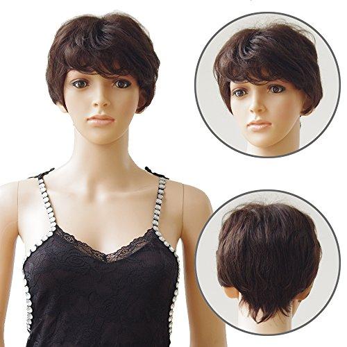 Elailite Parrucca Donna Capelli Veri Corti Marrone 100% Remy Human Hair Parrucche Brasiliane Naturali # 02 Castano Scuro