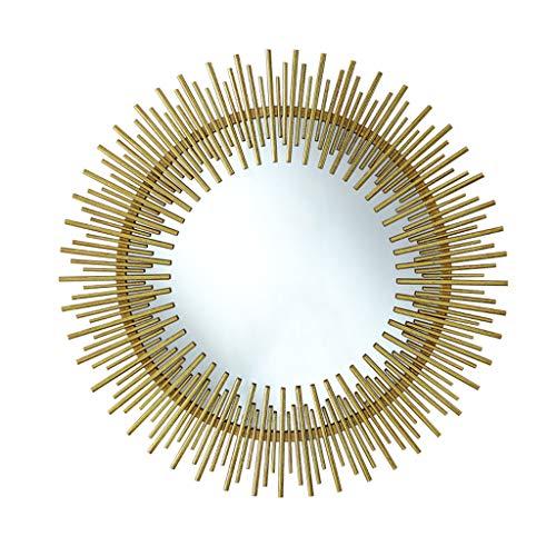 Miroirs Miroir Mural Miroir Mural Miroir Mural Rond Miroir De Courtoisie Pour La Chambre Miroir Décoratif De Mur De Porche Miroir Créatif À Cadre En Métal (Color : Gold, Size : 70cm/27.5inches)