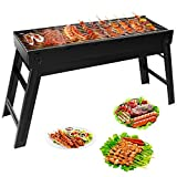 Vockvic Charcoal BBQs, Portable and Foldable Smokeless Stainless Steel Charcoal BBQ, Dismountable Cooking Grid for Outdoor Camping Outdoor Garden Travel (58 * 20 * 37cm)