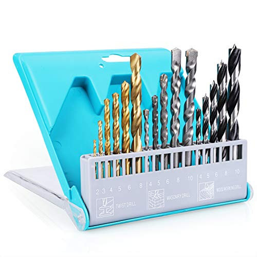 Drill Bit Set, 16 Pieces High Speed Steel Drill Bits Sets for Metal/Wood/Masonry/Twist drill, Size from 5/64' up to 25/64'