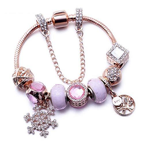 GHabby Pulsera de Cristal para Mujer con Colgante de Varios Estilos, Brazalete Encanto de Aleación de Moda, Regalo de San Valentín para Novia y Esposa (C)