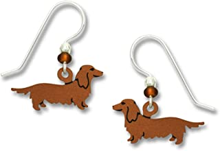 Tiny Long Haired Dachshund or Weiner Dog Earrings w/Sterling Silver Ear Wires