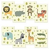 kizibi® 8 pósteres DIN A4, pósters para habitaciones de niños y habitaciones de bebés, pósters de animales. Tigre León Cebra Cocodrilo Cocodrilo Hipopótamo
