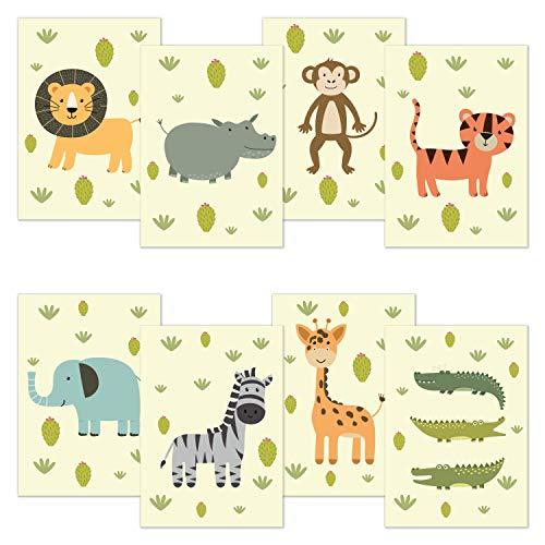 kizibi® Babyzimmer Poster 8er Spar Set DIN A4 Safari Zoo, Poster für Kinderzimmer und Babyzimmer, Kinderposter Tiere für Jungen und Mädchen. Wandposter: Tiger Löwe Zebra Krokodil Nilpferd Giraffe