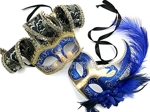 MASQSTUDIO Couples Masquerade Jolly Jester Mask Cosplay Mardi Gras Prom Dance Birthday Party Wear or Deco (Blue)