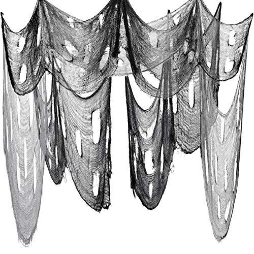 iplusmile ハロウィン グッズ 飾り お化け屋敷 玄関 窓カバーガーゼ 不気味 ハロウィン パーティー デコレーション ハンギング 雰囲気満点 2枚 (黒2 * 4.5m+灰色2 * 4.5m)