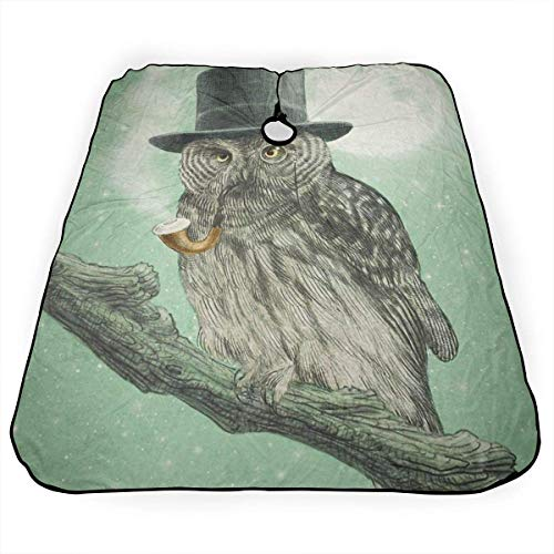 Capa de corte de pelo con diseño de búho fresco con sombrero negro personalizado corte de pelo salón de peluquería cubierta para corte de pelo hogar peluquería envoltura delantal