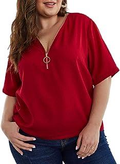 (ミズミス) Ms.Miss レディース プラスサイズ 大きいサイズ 3XL相応 bigsize トップス チャック Vネック 半袖