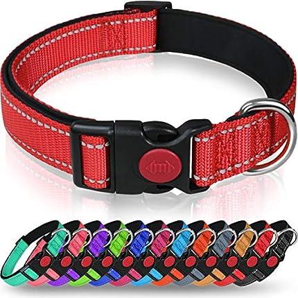 Taglory Collar Perro, Collar Nylon Reflectante Neopreno Forrado Ajustable para Perros Medianos, Rojo
