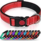 Taglory Reflective Nylon Dog Collar with Safety Buckle, Adjustable Pet Collars with Soft Neoprene...