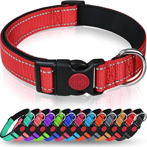 Taglory Hundehalsband, Weich Gepolstertes Neopren Nylon Hunde Halsband für Kleine Hunde, Verstellbare und Reflektierend für das Training, Rot