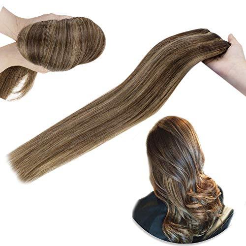 Hetto Haareinschlagfaden Voller Kopf extension 14 Zoll #2 Dunkelstes Braun mit #8 Hellbraun 80g Haarbündel remy