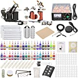 Chiitek Complete Tattoo Kit for Beginners 2 Machine Tattoo Gun Tattoo Power Supply Kit 40 Color Immortal Inks 20 Tattoo Needles Tips Grips Foot Pedal