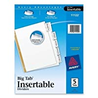 """Wholesale CASE of 25–Avery WorkSaver BigタブInsertable indexes-bigタブ挿入可能なディバイダー、11"""" x8–1/ 2、"""" 5-tab、36/ ST、クリア"""