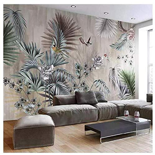 Papier PeintPersonnalisé Taille Classique Art Mural Plante Feuilles Rétro Salon Canapé Tv Fond Mur Peinture Fond D'Écran Pour Chambre Murs 3D, 350 * 245Cm