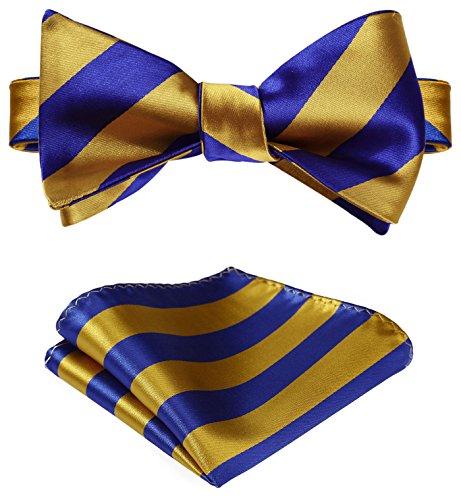 SetSense Men's Stripe Jacquard Woven Self Bow Tie Set One Size Gold/Blue