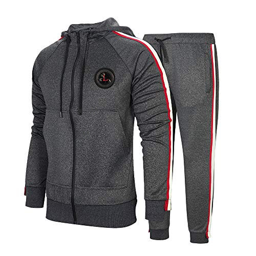 Aotorr Survêtement Homme Ensemble Sweat-Shirt à Capuche et Pantalon de Sport Jogging Gris foncé S