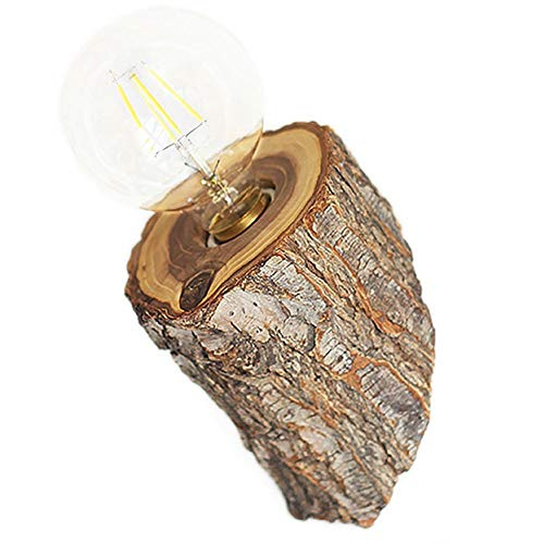 Hanamaki Appliques en Bois Lampes de Chevet, Creative Stump luminaire/Salon Mur Light-E27