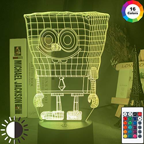 KangYD 3D Nachtlicht Cartoon SpongeBob, LED Optische Täuschungslampe, C - Berühren Sie Crack White (7 Farben), Moderne Lampe, Fashion Light, Liebhaber Geschenk, Visuelle Lampe