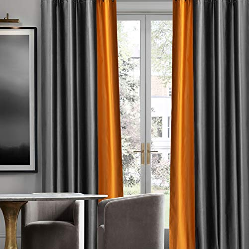 Maxzzz Blackout Curtains, Two-Color Stitching Fabric Window Curtains with Grommets for Living Room Bedroom Kids Room, 2 Panels (Gray+Orange, 46*72 Inch)