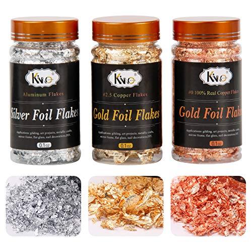 KINNO - Copos de hoja de oro de 3 gramos de metal...