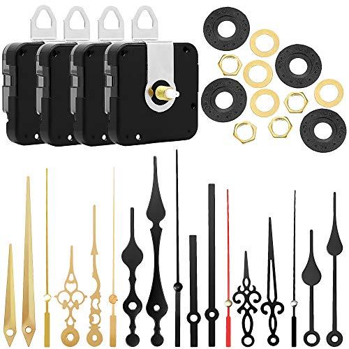 munloo 4 Piezas Mecanismo de Reloj Cuarzo Movimiento Silencioso, Mecanismo Reloj de Pared con 6 Pares Diferentes de Kits de Movimiento de Bricolaje de Repuesto (Negro)