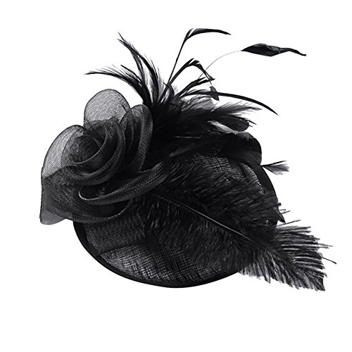 Topgrowth Cappelli Eleganti Donna Copricapo Nozze Cappello da Festa Cappelli Cerimonia Vintage Piuma Fiore Partito Cappello (Nero)
