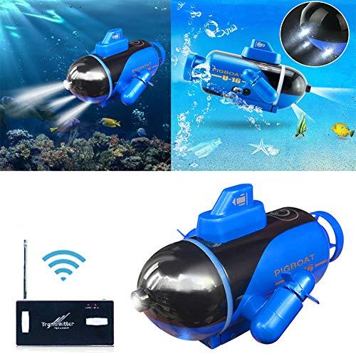 cheerfulus-1 4-Zoll-Mini-RC-U-Boot-Boot, leuchtendes elektrisches U-Boot-Spielzeugmodell, ferngesteuertes elektrisches Rennboot für Pools, Badewannen, Fischtanks - Bestes Kindergeschenk