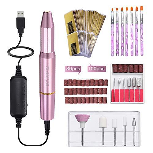 Elektrische Nagelfräser Set, GLAMADOR Rosa Elektrisches Maniküreset mit 11 Schleifkörper, 30 Schleifbänder, 7 Pinsel für Nägel, 100 PCS Nagelschablonen, Maniküre-Set für Nagelstudio/DIY-Maniküre