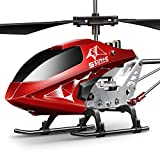 SYMA Hubschrauber ferngesteuert Helikopter Fernbedienung RC Helicopter Indoor Flugzeug Geschenk Kinder S107H-E 3.5 Kanal 2.4 Ghz LED Leucht Gyro Höhe halten Rot
