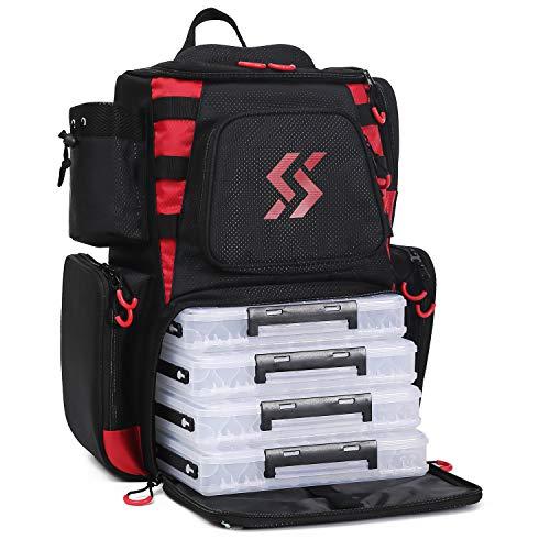 Sougayilang Fishing Tackle Backpack Waterproof Tackle Bag Storage with 4 Trays Tackle Box and Protective Rain Cover for Camping Hiking - Black