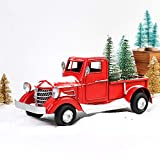 OurWarm Red Truck Christmas Decor, Vintage Christmas Truck with Mini Christmas Trees for Christmas Decorations Table Top Décor Holiday Xmas Supplies