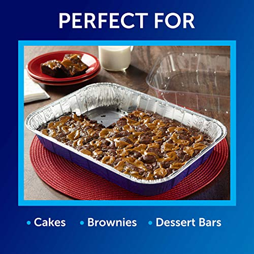 Reynolds Kitchens Aluminum Pans with Lids, Blue, 13x9 Inch, 2 Count (Pack of 3), 6 Total