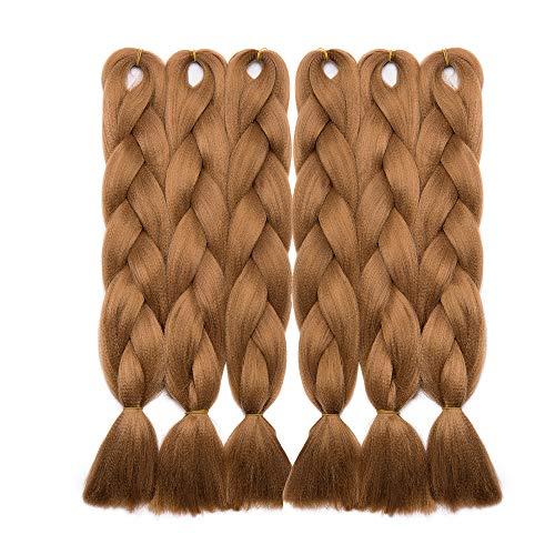 Elailite Capelli per Treccine Africane Afro 6 Bundles Extension Treccia Finta 60cm Braiding Braids Hair Crochet Fibre 600g, 30# Marrone Medio