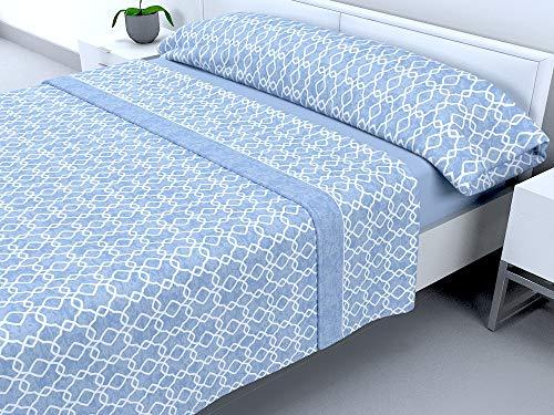Cabello Textil Hogar - Juego de sábanas térmicas de Pirineo - 3 Piezas - 110 Gr/m2 - Mod. Vectoria (Azul, 150_x_190/200 cm)