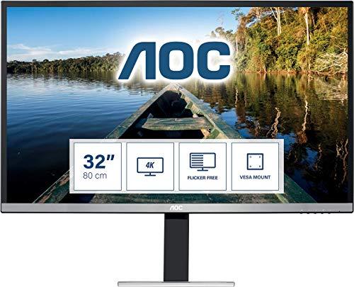 """AOC U3277FWQ - Monitor profesional de 32"""" 4K (3840x2160, FlickerFree, 60 Hz, 4ms, 350 cd/m², Altavoces, HDMI, DisplayPort, Flicker Free, VESA) Plata"""